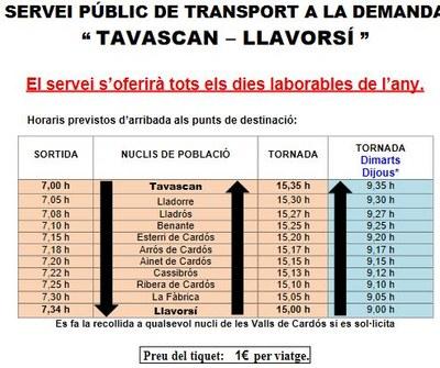Ampliació horaris transport a la demanda